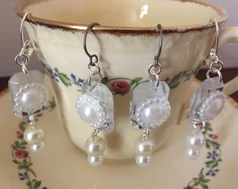 1920's Great Gatsby Inspired White Pearl Mirror Earrings with 3 Ear-wire Options: Leverback| Titanium Earrings |Clip-on Earrings, Handmade