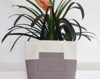 Colour Block Taupe tote bag  / canvas bag / beach bag / shopping bag / canvas handbag