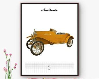 Amilcar CS car Cartel, 5 downloadable files. Poster, posters, laminates for salon decoration, garage, office. Christmas, Online poster.