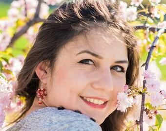 Red earrings Crystal earrings Crystal jewelry Red bead earrings Swarovski earrings Seed Beed Earrings Bohemian Earrings Gift for Her Summer