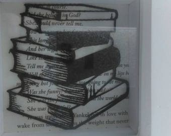 Stack of books paper cut art, framed paper cut, book gift, book page art.