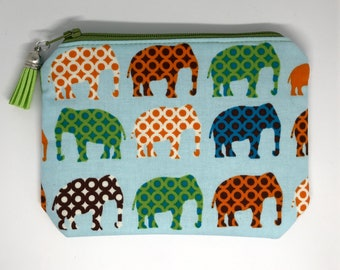 Coin Purse, Pouch, Card Pouch, Zipper Pouch, Elephant Purse, Funky Elephant Pouch, Mother's Day Gift