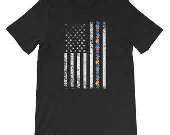 Autism Awareness Shirt - Autism Awareness Month - American Flag - Special Needs Aspergers Special Education Teacher Shirt - Autistic  Puzzle