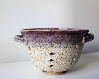 Ceramic Berry Bowl, Clay Colander, Pottery Strainer, Purple and White