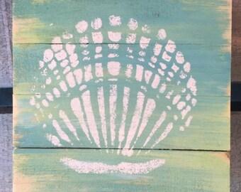 Seashell Pallet Art, Shell art, Beach art, Conch art, Clam Shell Art, Coastal Decor
