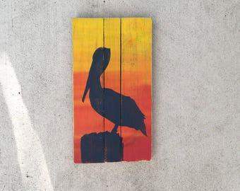 Pelican wall Art, Pelican patio art, Pelican painting, Seabirds art, Coastal Decor
