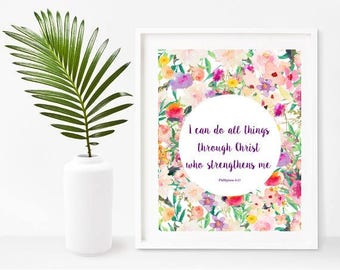 I Can Do All Things Through Christ, Philippians 4:13, Bible Verse Printable, Christian Wall Art, Digital Download, Home Decor, Wall Decor