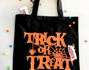 Trick or Treat, Halloween Tote Bag, Candy Bag, Halloween, Halloween Treats, Trick or Treat Bag, Tote / Candy Tote / Spider Web Tote