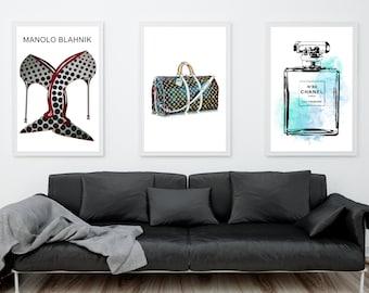 Set of 3 fashion prints. Designer print set: Chanel perfume bottle, Manolo Blahnik Shoes, Louis Vuitton Bag. Fashion wall art. Free shipping