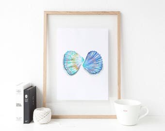 Coastal Bathroom Decor, Seashell Printable, Nautical Bathroom Decor, Seascape Painting, Ocean Prints, Coastal Print Set, Kids Bathroom Art