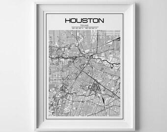 Houston Map Etsy - Houston us map