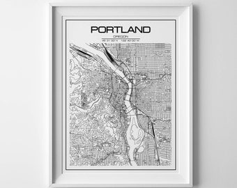 Portland print Portland poster Portland city map Map of Oregon Oregon state Map of Portland Black and white map Portland printable