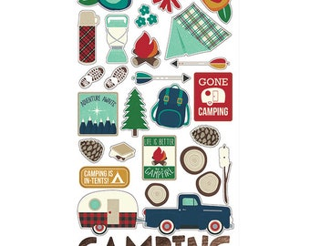 Cabin Fever Chipboard Stickers from Simple Stories.