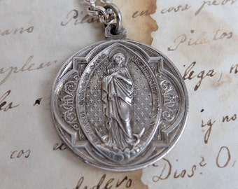 Blessed Mother Virgin Mary and Sacred Heart  Medal Religious Catholic Jewelry