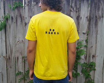 Vintage yellow tshirt / RB REBEL 80s t shirt / short sleeve summer tee / Screen Stars red label / yellow and black / L