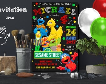 Elmo Invitation, Elmo Birthday Invitation, Sesame Street Invitation, Sesame Street Elmo Invitation, Elmo Printable, Elmo Invite