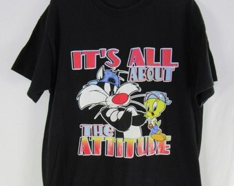 Vintage 90s It's All About the Attitude Looney Tunes T Shirt Black Cartoons