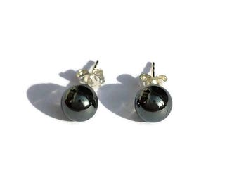 Silver earrings with Hematite-Hematite Earrings-earrings small