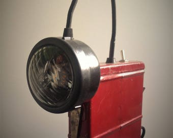 Old miners lamp up cycled to vintage retro accent lamp