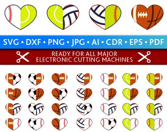 Half Heart Svg Sports Half Heart Svg Half Sports Heart Cut Files Silhouette Studio Cricut Svg Dxf Jpg Png Eps Pdf Ai Cdr