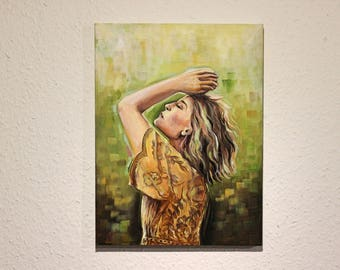 "Oil Painting on Canvas - ""Breathe"", Contemporary Art, Woman Painting, Portrait"