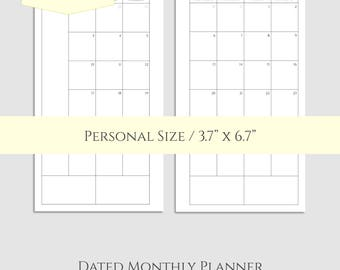 "2017 and 2018 Dated Monthly Printable Planner Inserts, MO2P Sunday-Saturday Monthly Calendar ~ Personal / 3.7"" x 6.7"" Instant Download (MSS)"