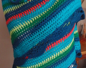 Crochet Shawl, with a crocheted lace along the edge, green, blue, orange colours