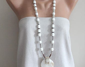 Long beaded necklace with mother of pearl and tagua and coral, bohemian long necklace with nacre and tagua, long natural materials necklace