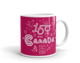 150th Year Canadiana Mug No. 1 | Canada150 | Singuline Art Illustration Gift Idea
