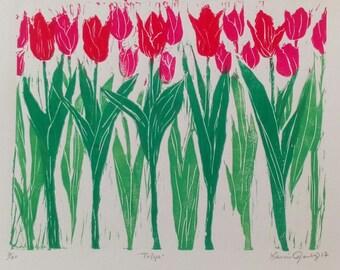 Tulip Group Hand  Printed Linocut