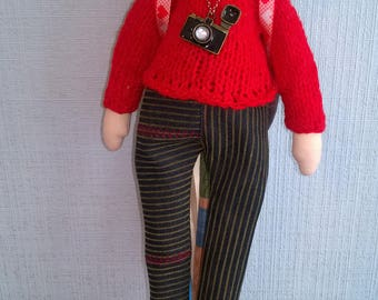 Rag doll style Tilda interior gift memories of travel camera backpack black hair red sweater jeans brown boots ceramic heart plastic beads