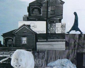 White wolf, handcut collage