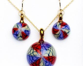 Pinwheel Amulet and Earrings