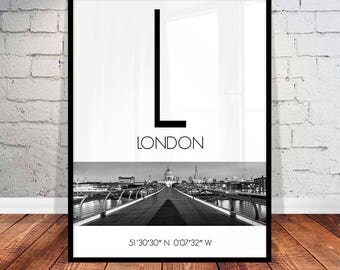 London Wall Art london coordinates | etsy