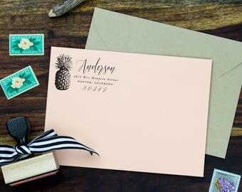 Pineapple Address Stamp Return Address,  Return Address Stamp Pineapple Stamp, Personalized Address Stamp Tropical, Boho Stamp Unique
