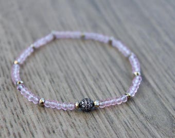 Rose Quartz Stretch Bracelet - Stacking bracelet