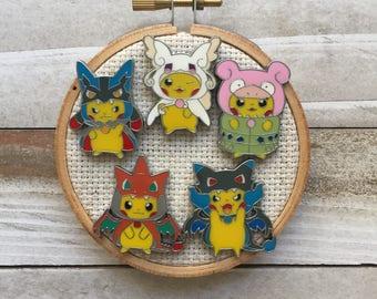 Pikachu Needle Minder - Mega Evolution Poncho Pikachu - Pokemon Magnet - Needle Nanny - Cross Stitch - Modern Embroidery Accessories