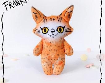 Illustrated cat doll - Frankie on Friday - Soft Minkie stuffed animal