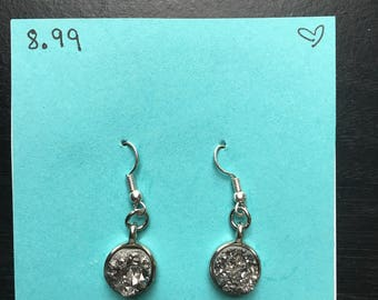 Exposed rock earrings- silver