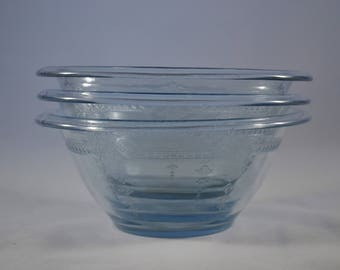 3 Philbe Pattern Sapphire Blue Mixing Bowls by Anchor Hocking