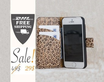 SALE wallet iPhone 6, case for iPhone 6, Brown iPhone case, Wallet iPhone 6, Wallet iPhone SE case, wallet iphone 5 Leopard