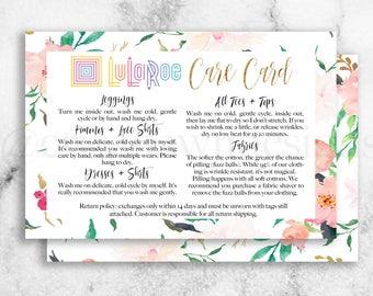 LuLaRoe Care Card // LLR Care Card // LuLaRoe Fabric Card // LLR Fabric Card // LuLaRoe Info Card // Floral Card // LLR // 20% off!
