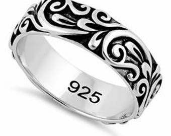 Sterling Silver Oxidized Floral Band