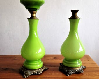 Pair of antique incomplete oil - Green Opal and brass lamps feet