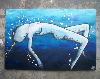 Lady Narwhal Acrylic Painting