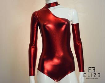 Zoya Turtle Neck leotard/ Long Sleeve Leotard/ Asymmetric Leotard/ Metallic / Bodysuit/ Women's Leotard/ Dance Leotard/ Gymnastics Leotard