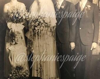 1920's | Family Wedding Portrait | large sepia tone