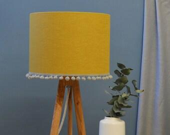 Mustard Pom Pom Drum Lampshade - handmade lampshade - home decor - fabric lampshade - designer lighting - decor lighting - yellow lampshade