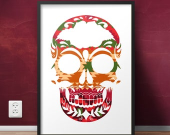 Skull Poster // Aztec Pattern - Printable Poster - Skull Cutout - Skull Shape - Pattern Poster - Colorful Poster / Pink, Green and Orange