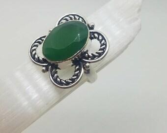 Green Aventurine Ring Green Aventurine Crystal Ring Green Aventurine Crystal Statement Ring size 7